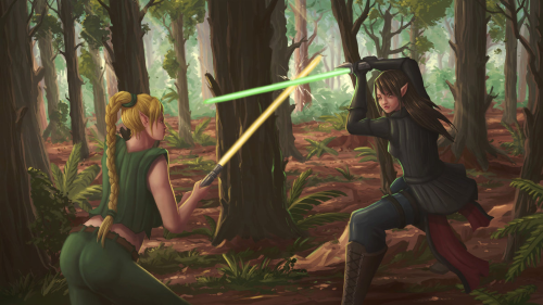 Alara and Shadow Nighthunter fighting after their parents' death. Portrayed by Q-Arts on Deviantart.