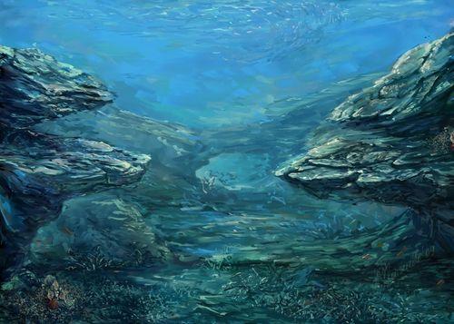 underwater painting with sunrays - 900×643